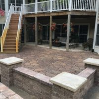 Patio with sitting walls